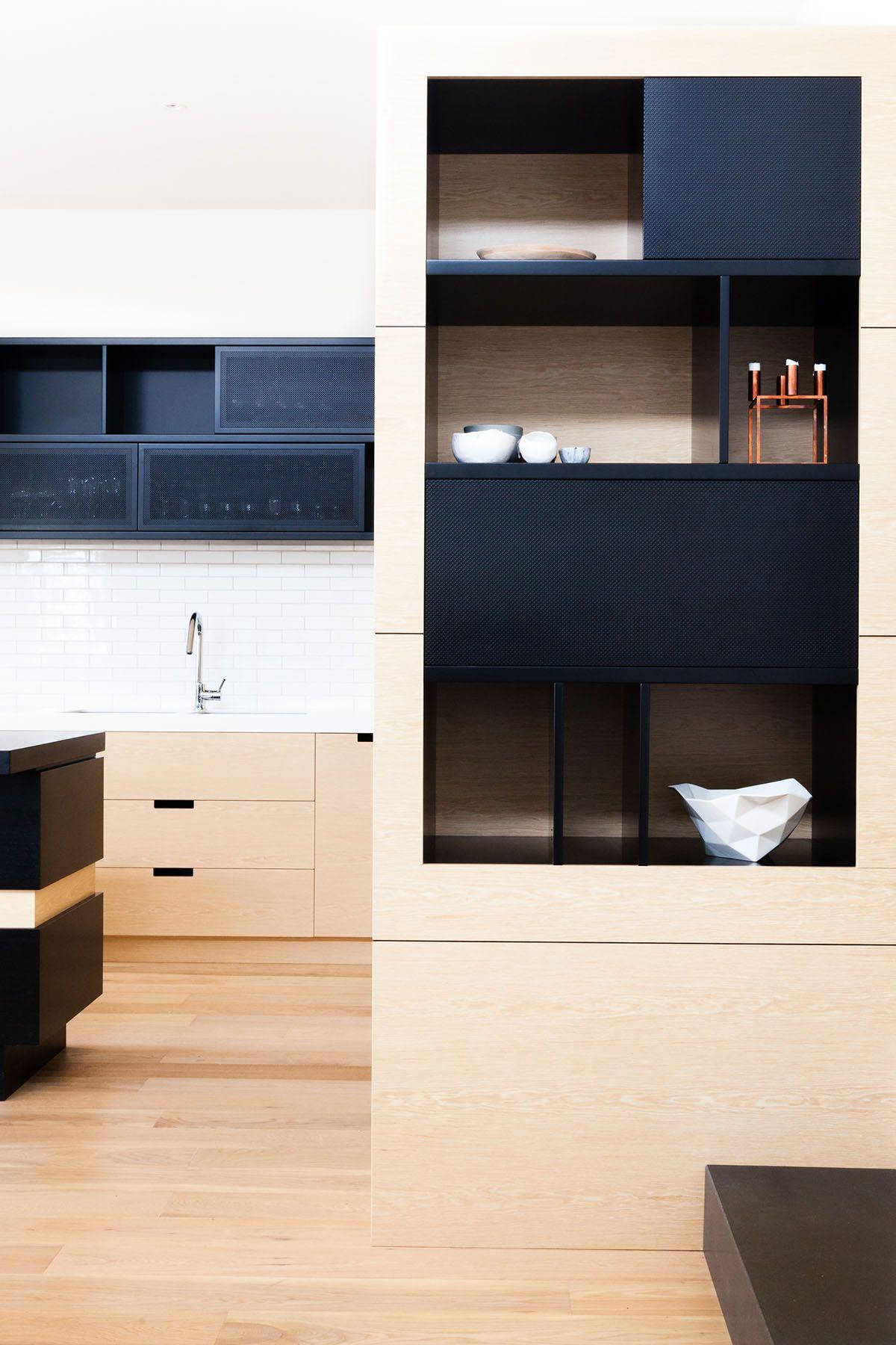 Light Wood Cabinets Doors Mixed W Black Doors Upstatehome