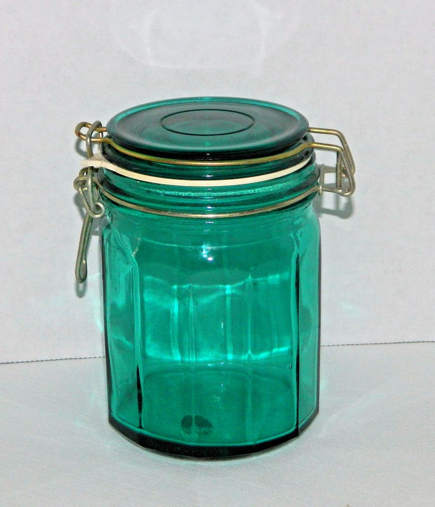 Green Panel Glass Wire Bail Canister Jar 5-3/4\
