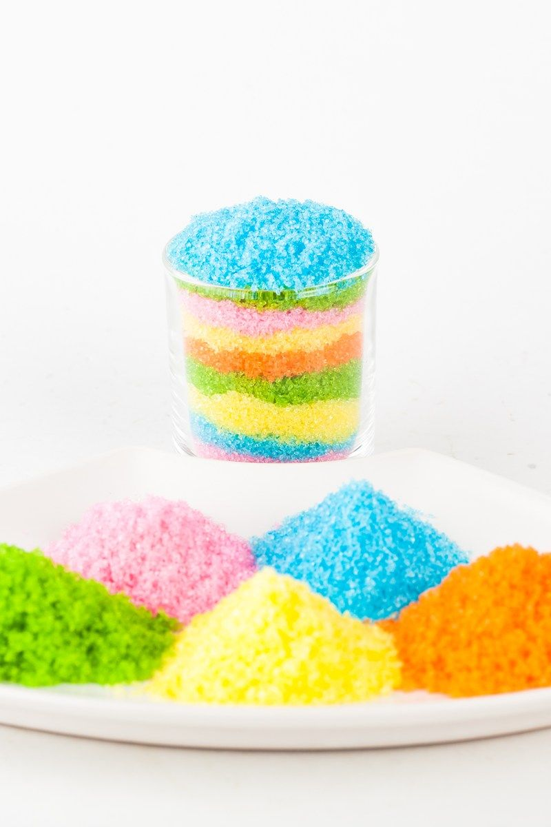 How to Make Colored Sugar 1 cup sugar, 2 drops any color food ...