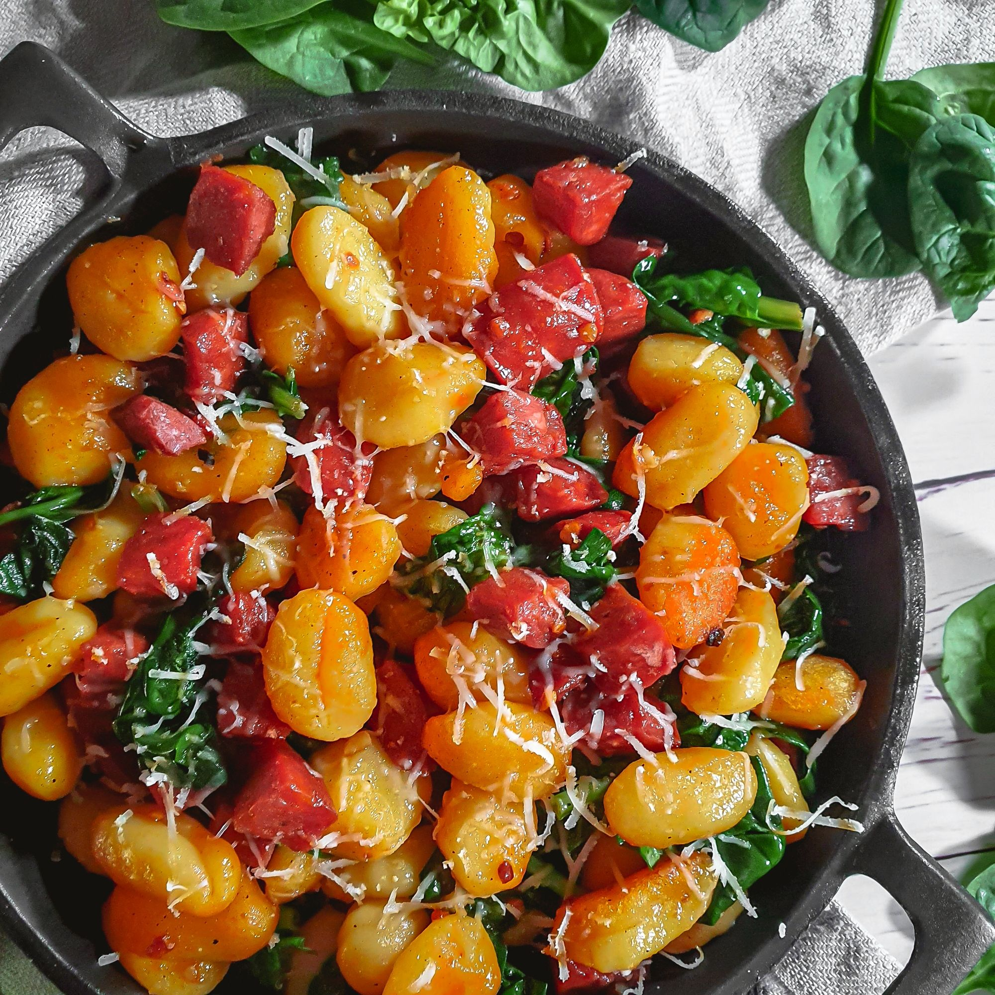 Pan Fried Gnocchi With Chorizo And Spinach Recipe Cooking With Bry Recipe In 2020 Gnocchi Recipes Easy Cooking Risotto Spinach Recipes