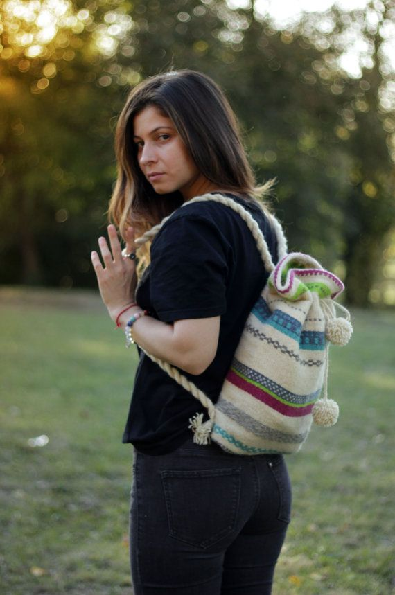 Color Hand-woven Backpack  Natural Hand-woven by TheColorfulLoom