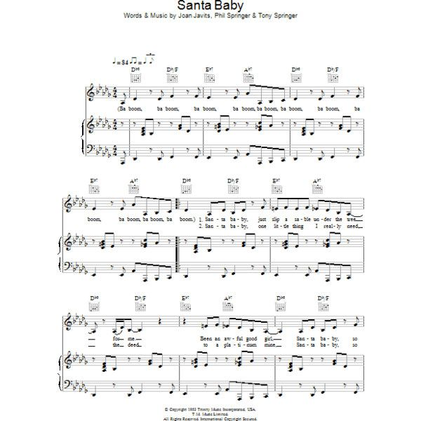 Santa Baby Sheet Music Direct 140 Thb Liked On Polyvore
