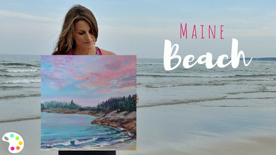 Maine Beach Painting And How To Paint A Sunset On The Ocean Tutorial By Artist Ashley K Painting Tutorial Landscape Painting Artists Acrylic Painting Tutorials