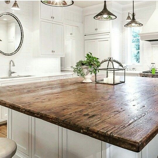 Reclaimed Wood Island Countertop Wood Countertops Kitchen Island