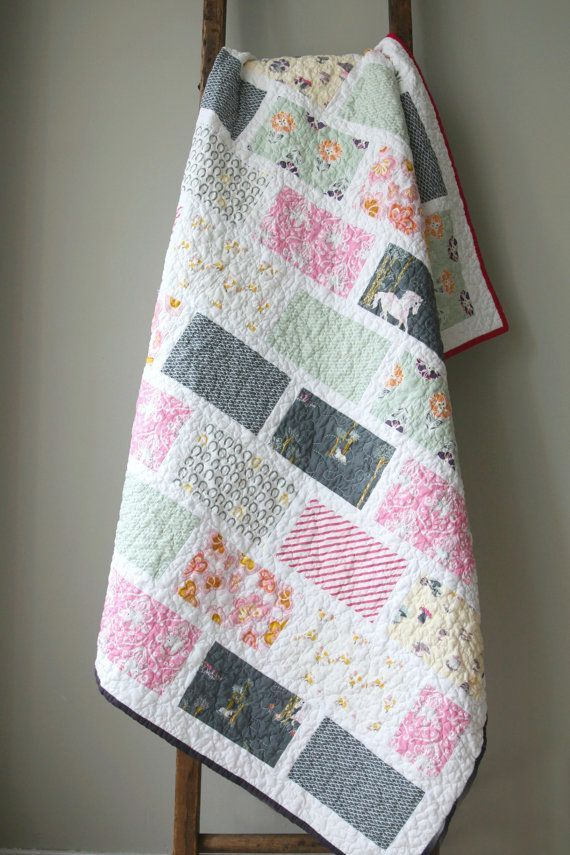 Modern Unicorn Quilt, Throw blanket, Nursery Bedding, Children ... : quilt throw blanket - Adamdwight.com