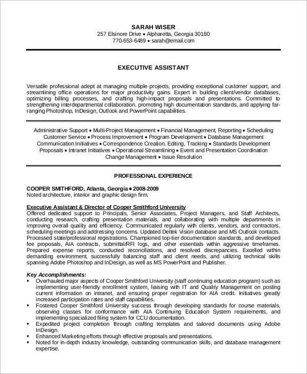 Sample Executive Assistant Resume Examples Word Pdf Free