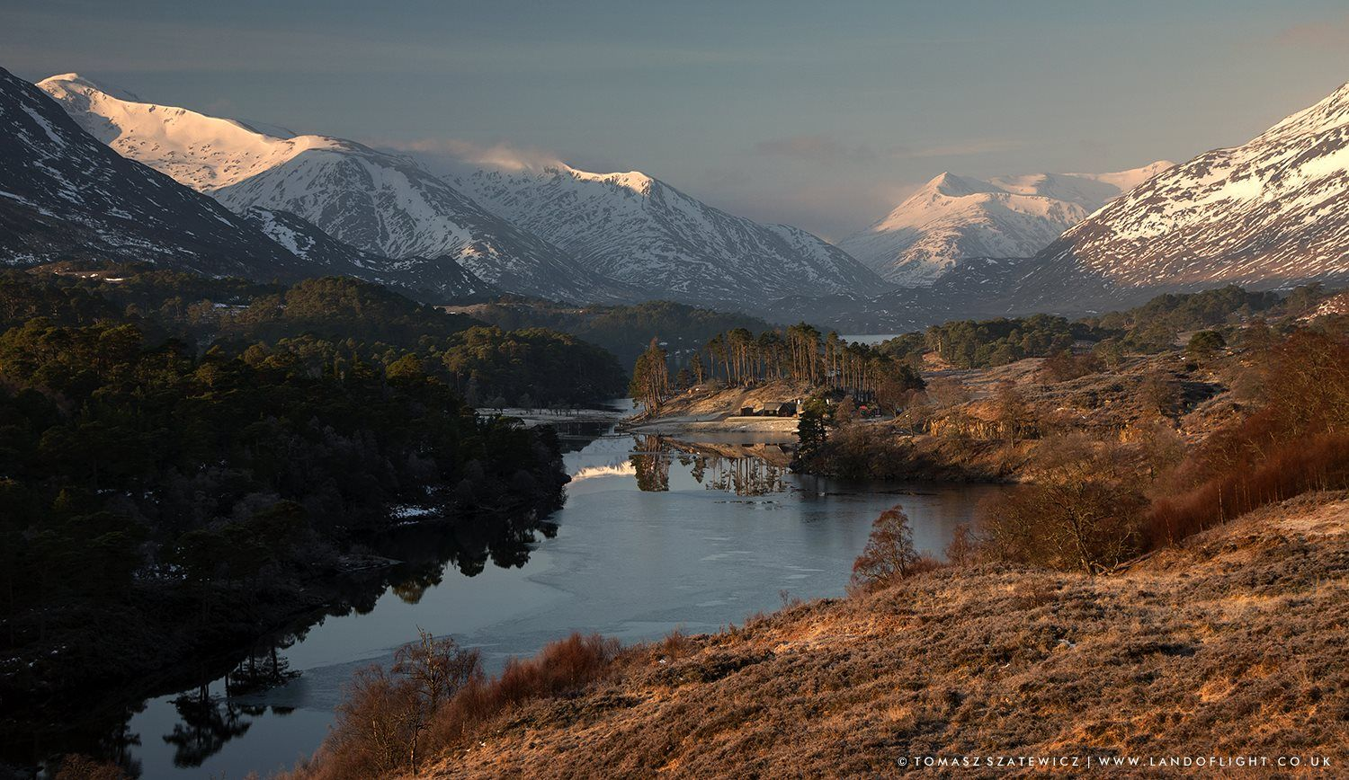 Loch Affric and surrounding mountains in morning, Glen Affric, Scotland. Land of Light - Tomasz Szatewicz Photography