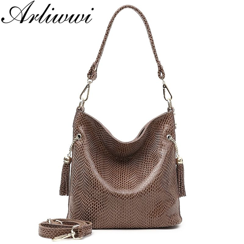 278026a11bc186 Arliwwi Brand Designer New Real Leather Shiny Snake Pattern Embossed Female Shoulder  Bags High Quality Women Everyday Handbags