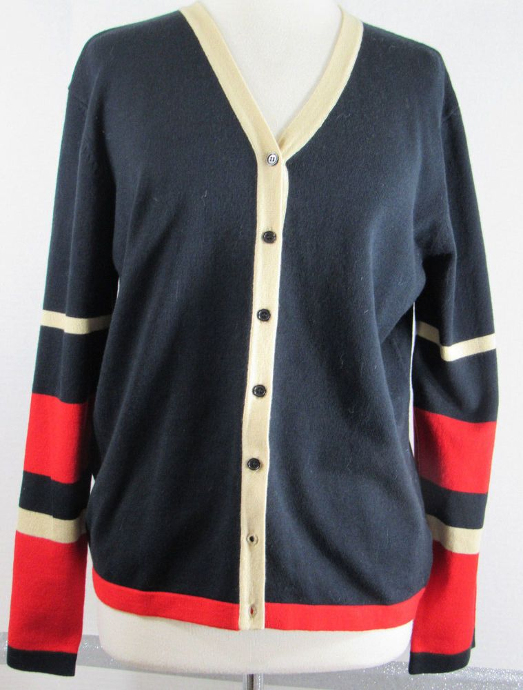 Boyfriend Cardigan Jones New York Large Navy Blue Tan Red Striped ...