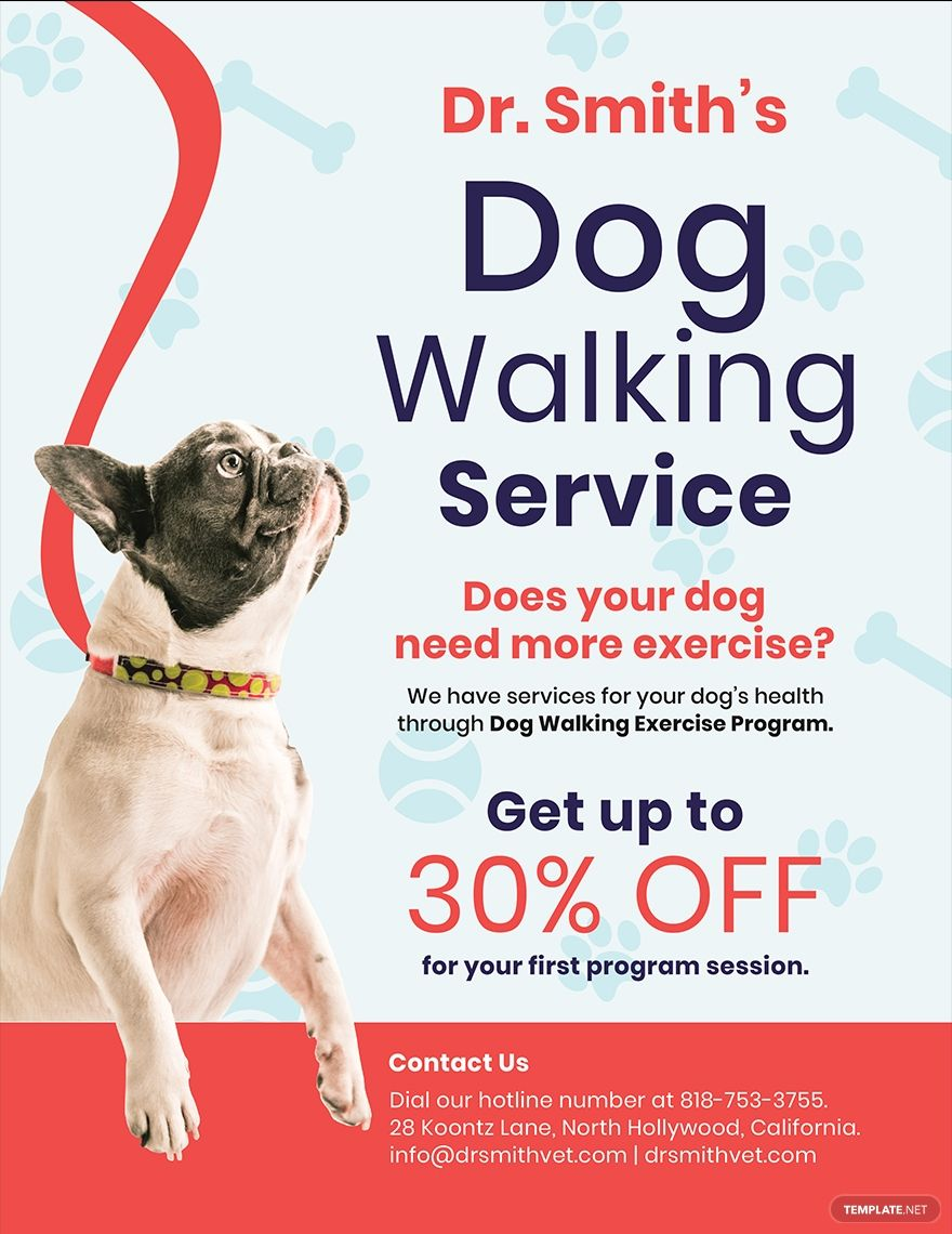 Free Dog Walking Service Flyer Template Word Doc Psd Apple Mac Pages Illustrator Publisher Dog Walking Flyer Dog Walking Services Dog Walking