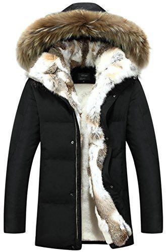 5100bff1f2a1 APTRO Couple s White Duck Down Faux Fur Lining Long Warm Hooded Jacket  Black Womens 2XL(