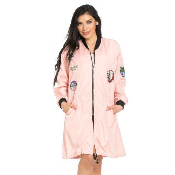 Patched Up Fly Away Bomber Jacket in Light Pink ($40) ❤ liked on Polyvore featuring outerwear, jackets, patch jacket, blouson jacket, oversized bomber jackets, oversized jacket and light pink jacket