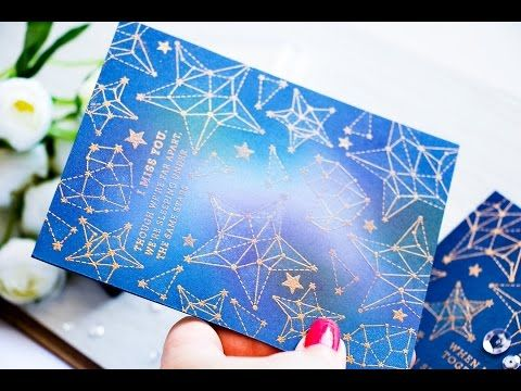 Ink Blended Galaxy on Blue Cardstock - YouTube. Well this is clever. Creating a galaxy background on blue cardstock. Go about 5 min into the video to see how easy