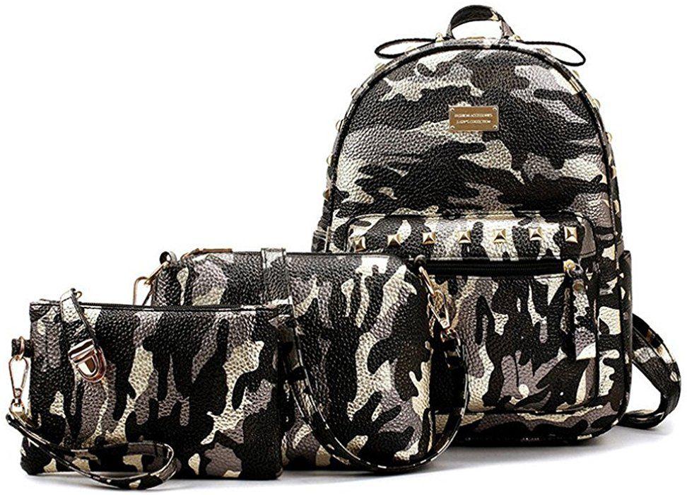 bda6170fa44b Celendi Girls' PU Leather Camouflage Printed School Backpack Set 3 ...