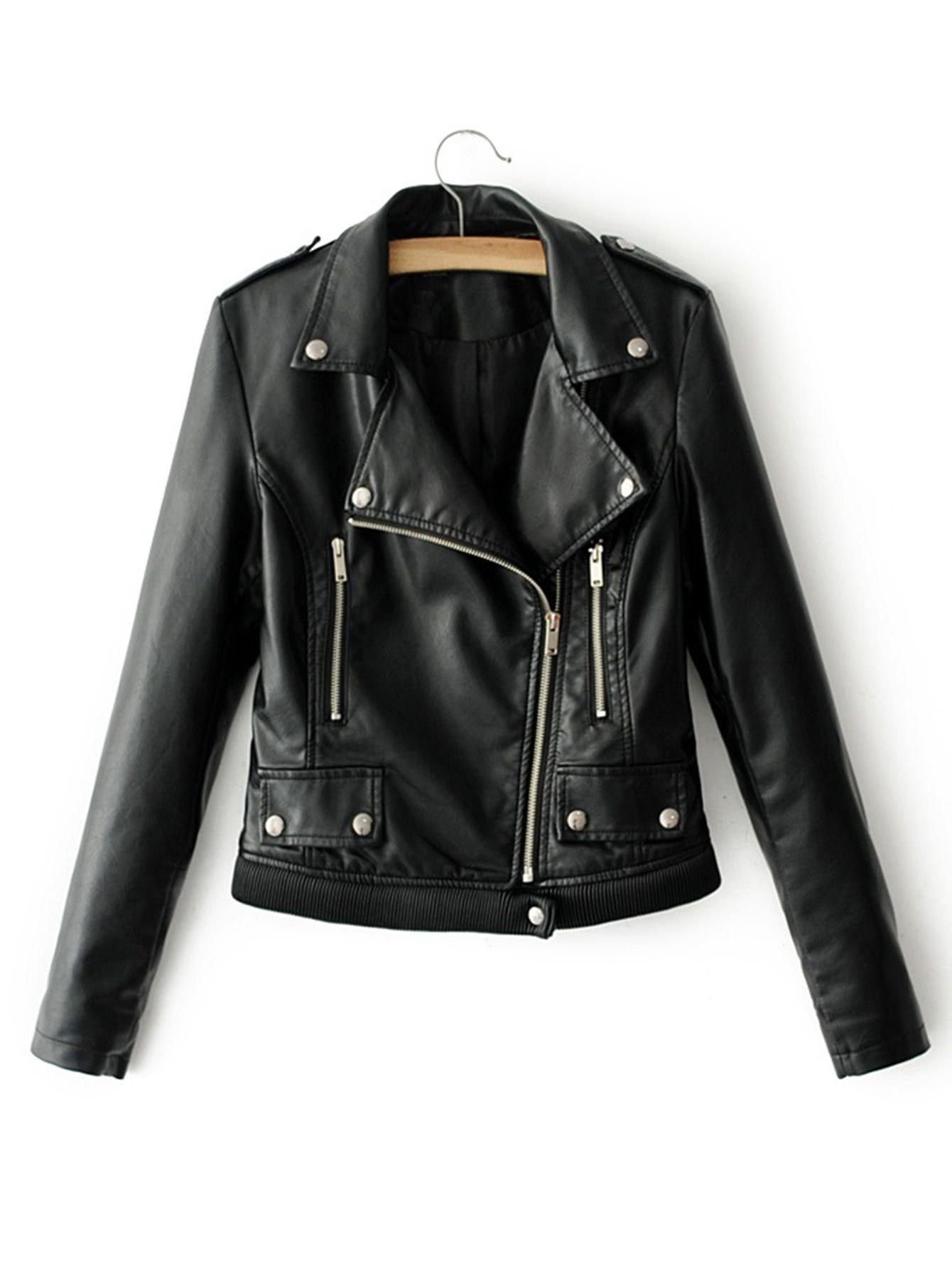 Ribbed Hem Pu Biker Jacket Shein Sheinside Pu Biker Jacket Biker Jacket Leather Jackets Women [ 1785 x 1340 Pixel ]