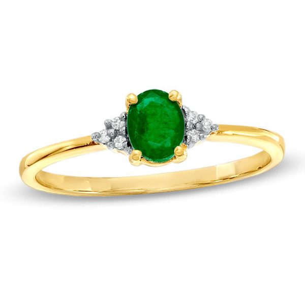 Oval Emerald And Diamond Accent Ring In 10K Gold