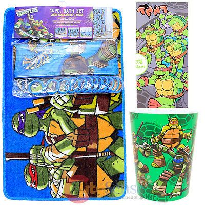 TMNT Ninja Turtles 16pc Bath Set Bathroom Rug Shower Curtain Ring Wastecan  Towel