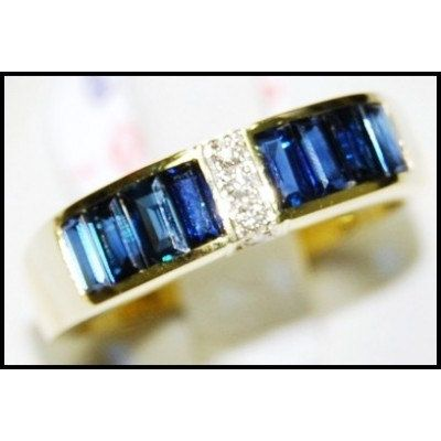 Blue Sapphire Natural For Men Diamond 18K Yellow Gold Ring RQ0013