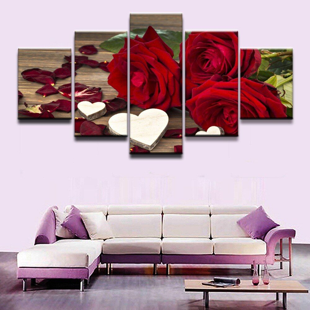 Canvas Paintings Home Decor Living Room Wall Art 5 Pieces Red Rose Flowers Pictures Modular Prints Stone Petal Poster Framework In 2020 Wall Art Canvas Painting Love Wall Art Wall Art Living Room #red #wall #art #for #living #room
