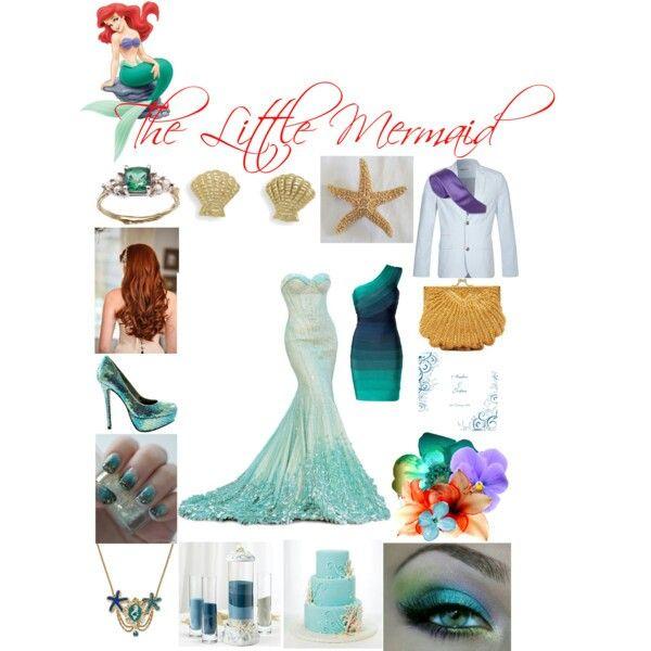 The Little Mermaid Wedding theme Bride\'s dress, Groom\'s suit ...