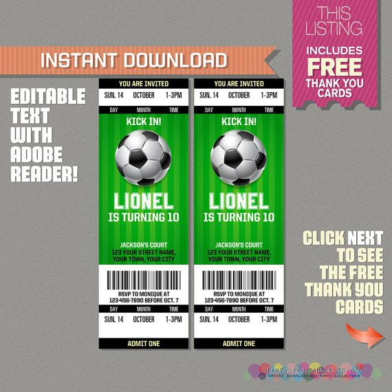 Soccer Ticket Invitation with FREE Thank you Card! - Soccer - ticket invitation