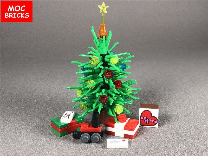 Goedkope Moc Bricks Plant Diy Custom Kerstboom Geschenken