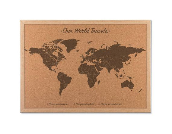 Push pin world map cork board map includes 100 map pins wood push pin world map cork board map cork map includes 100 map pins wood anniversary gift idea anniversary family travel cork map gumiabroncs Gallery