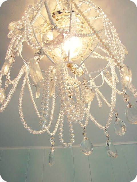 Diy Chandelier Made From A Dollar Hanging Basket And Thrift Beads Necklaces