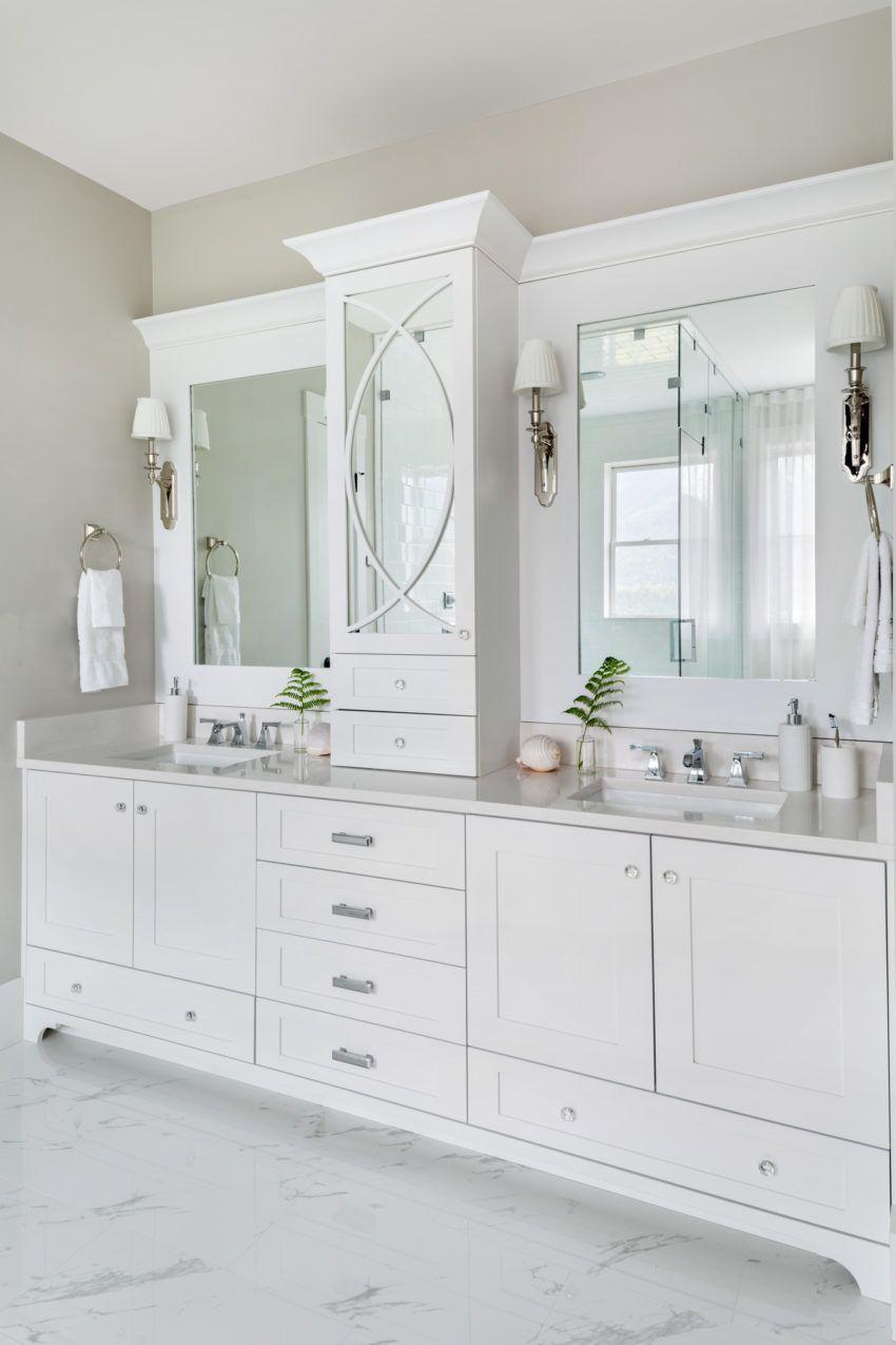 White Bathrooms Master Ensuite Bathroom Design Bathroom Lighting Wall Sconces H Bathroom Remodel Master Contemporary Bathroom Vanity Transitional House
