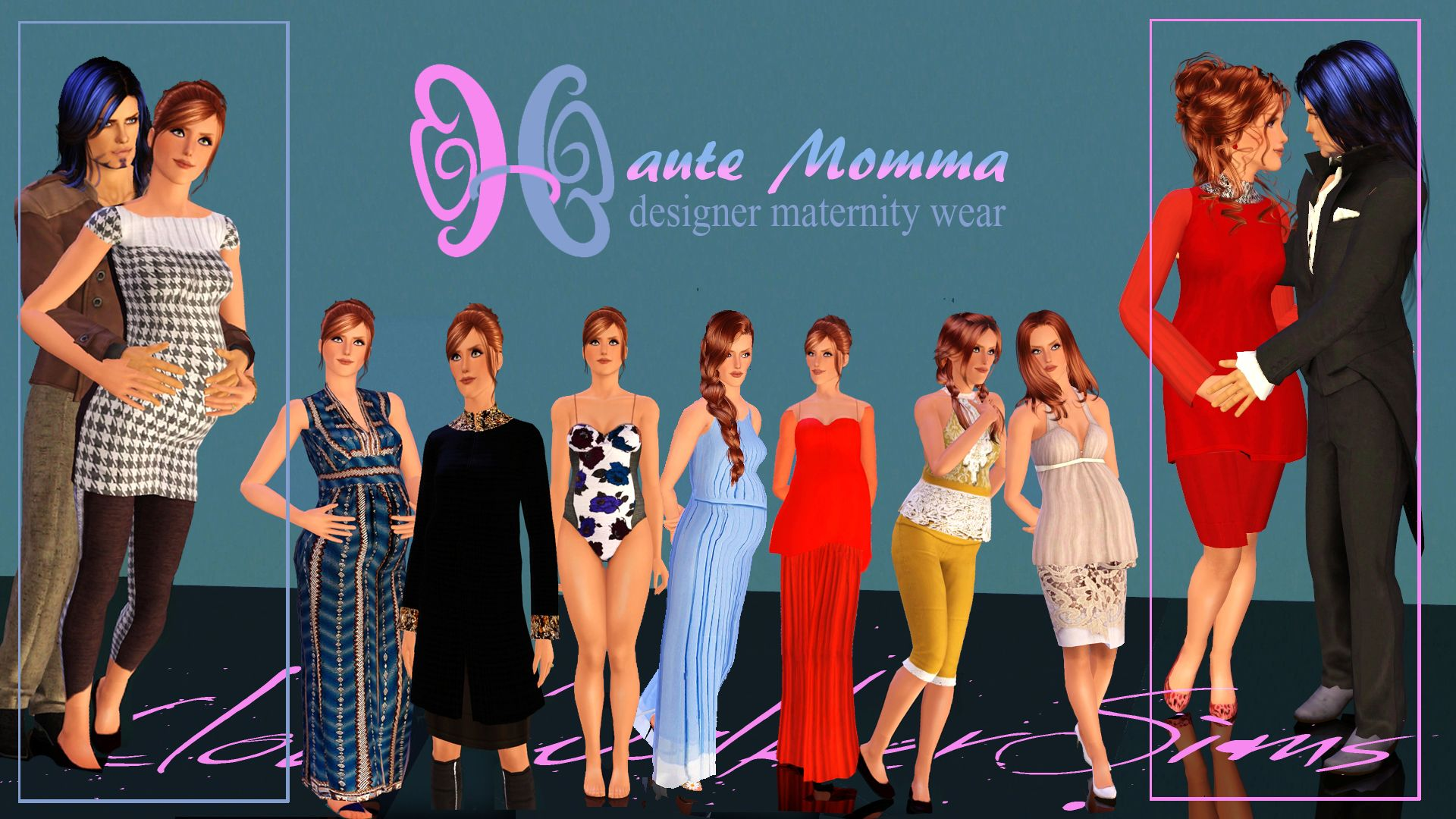 Sims 3 long maternity dress medium
