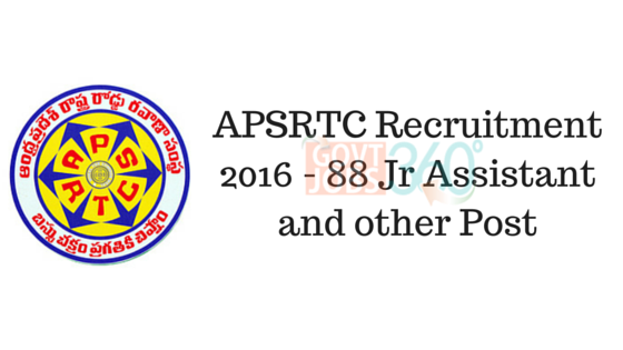 APSRTC Recruitment 2016 - 88 Jr Assistant and other Post