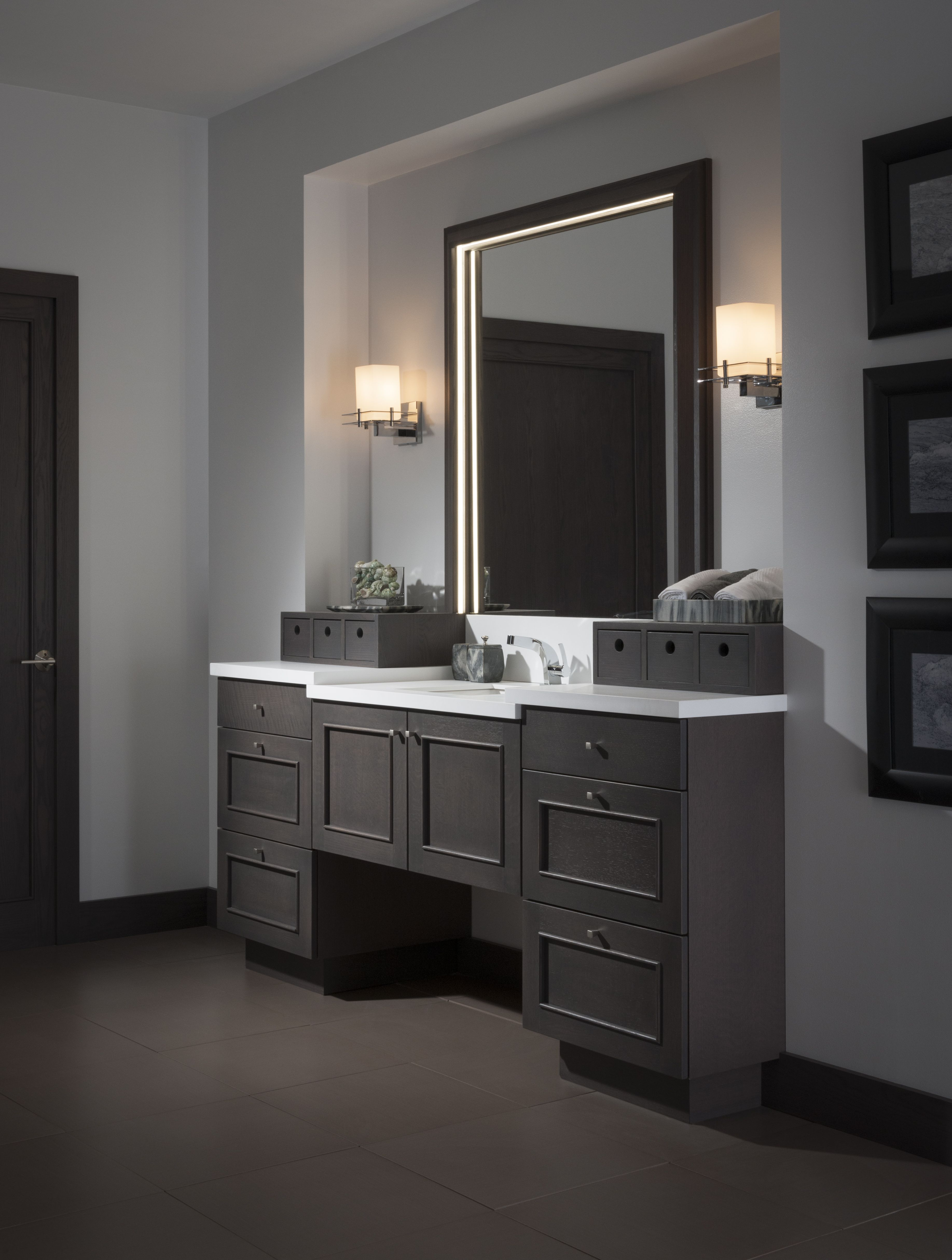 A Study In Contrast The Contemporary Soho Bath By Wood Mode Features A Dark Twilight Finish On Quarter Custom Kitchen Cabinets Design Wood Mode Cabinet Design