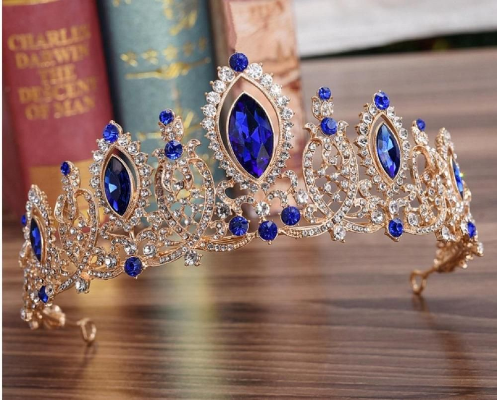 Bridal Heart Crown Head Tiara Blue Crystal Hair Pageant Princess Queen Birthday