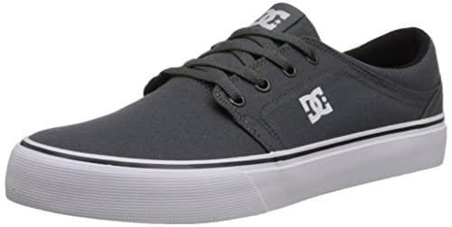 DC Men's Trase TX Skate Shoe, Grey/Grey/White, 13 M US: 6oz Canvas Upper HD Print Logo Vulcanized Construction