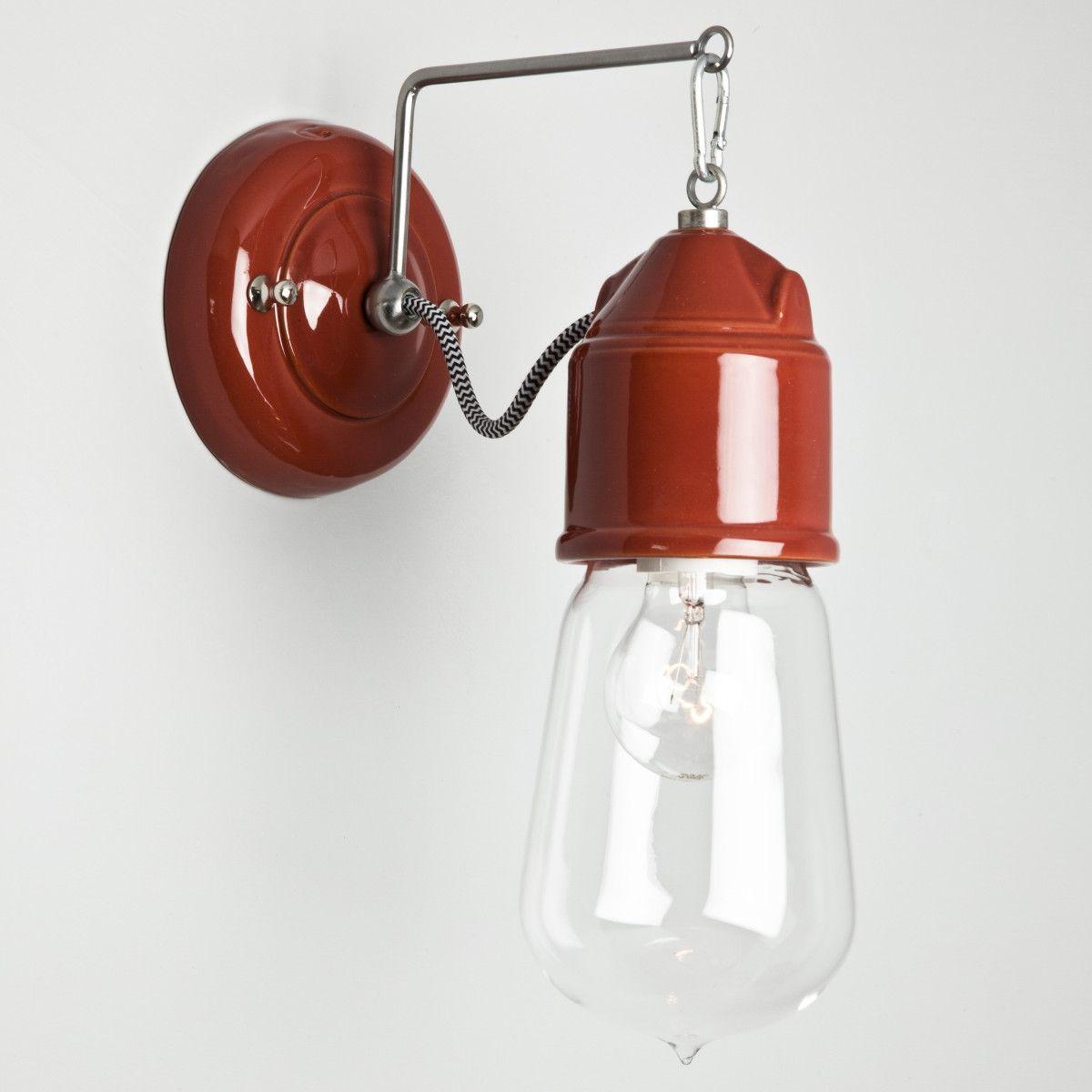 """Exceptionnel Applique murale rouge """" Carmin """", sans réflecteur avec câble noir  YI46"""
