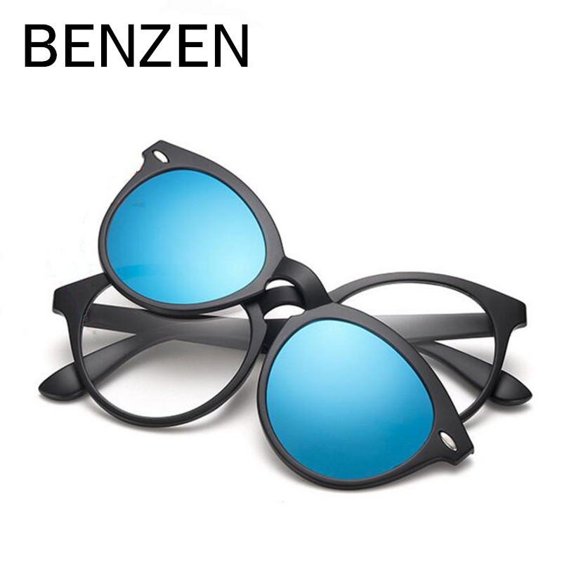 91.99$  Buy now - http://ali6kh.worldwells.pw/go.php?t=32706623870 - BENZEN Polarized Magnet Clip Glasses TR 90 Coating  Sunglasses Male Myopia Women Men Glasses Frame Black With Case 9150