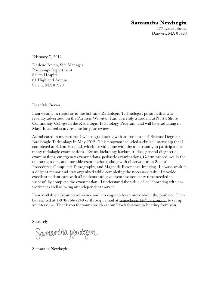 X Ray Tech Cover Letter Template  cover