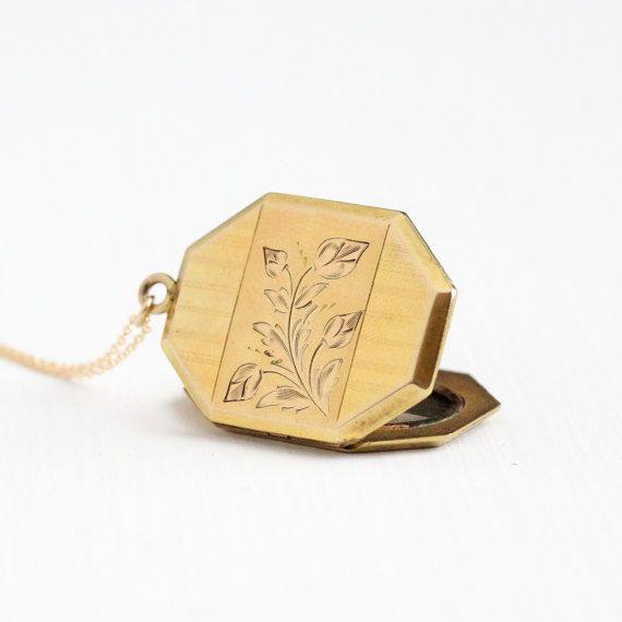Vintage 10k yellow gold filled flower leaf locket pendant necklace vintage 10k yellow gold filled flower leaf locket pendant necklace 1940s original black white aloadofball Gallery