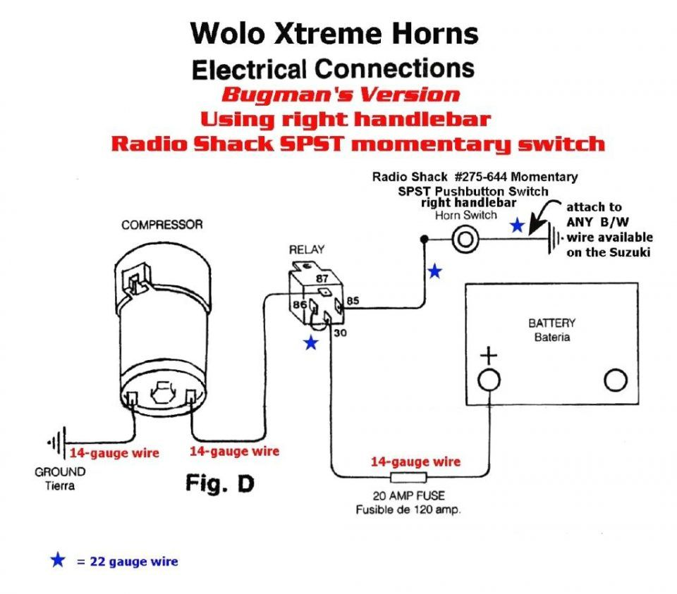 Air Horn Wiring Diagram Switch Dual Relay 12v Car Nitro Boat Motor With Horns Car Horn Diagram