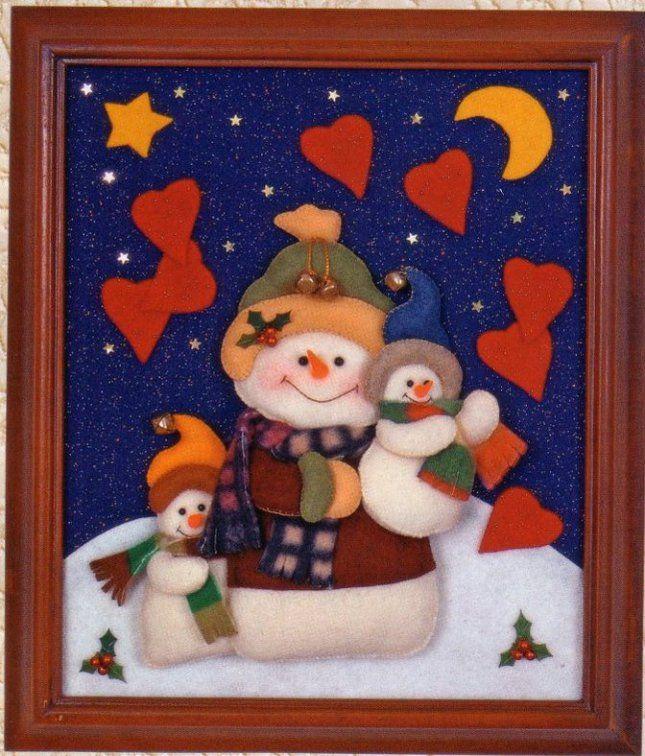 Cuadro 3 nieves30 ideas para el hogar pinterest for Cuadros de navidad