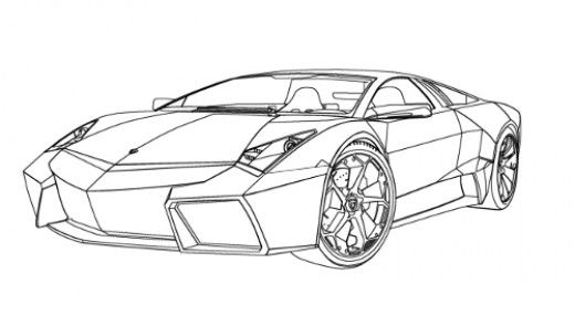 Lamborghini reventon digital line drawing