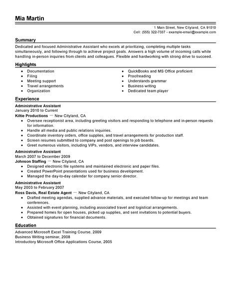 Secretary Resume Administrative Assistant Resume Example  Free Admin Sample