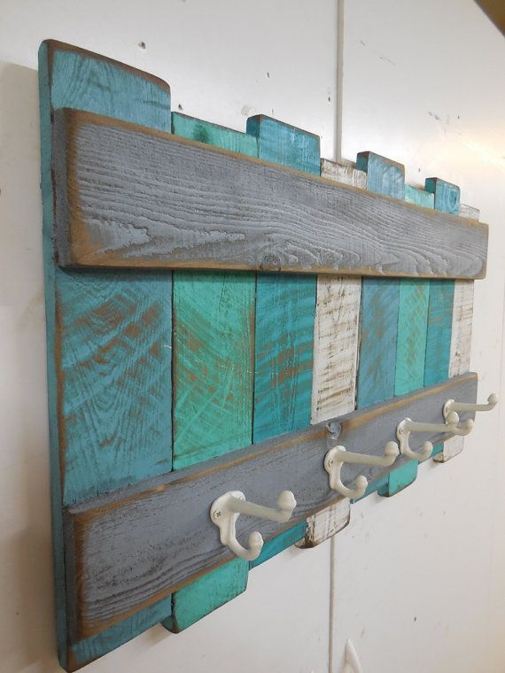 Photo of Nautical Coat Rack, Rustic Coastal Coat Rack,Beach Wall Hanging,Nautical Wall Decor,Beach Colors,Cast iron Coat hooks,Beach Towel Rack