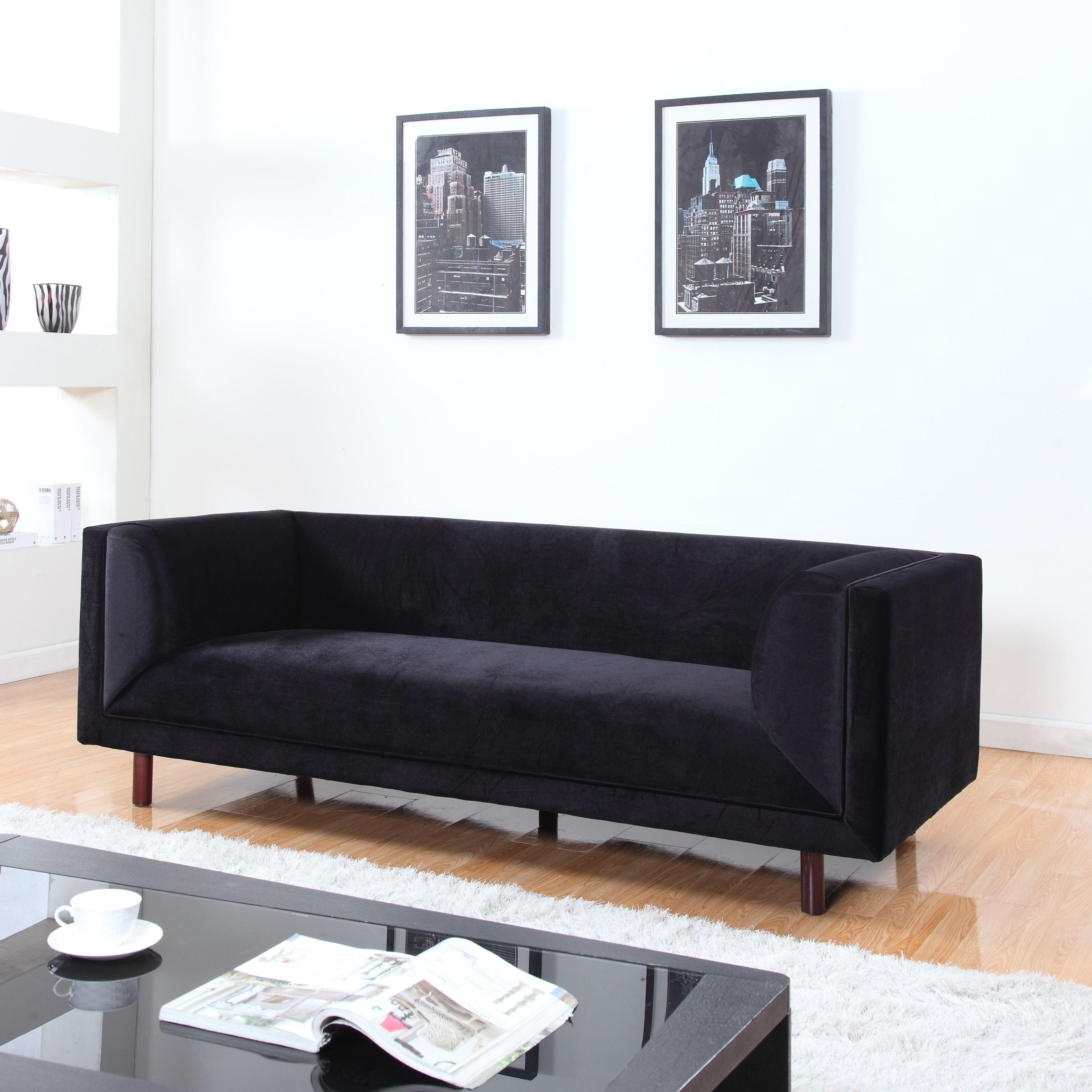 Madison mid century modern velvet sofa in colors red black and grey black