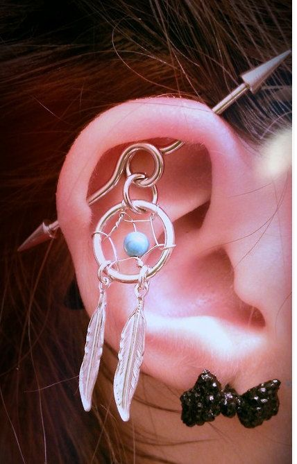 Industrial Piercing Dream Catcher Industrial Dream Catcher Barbell Piercing Upper by MidnightsMojo 6