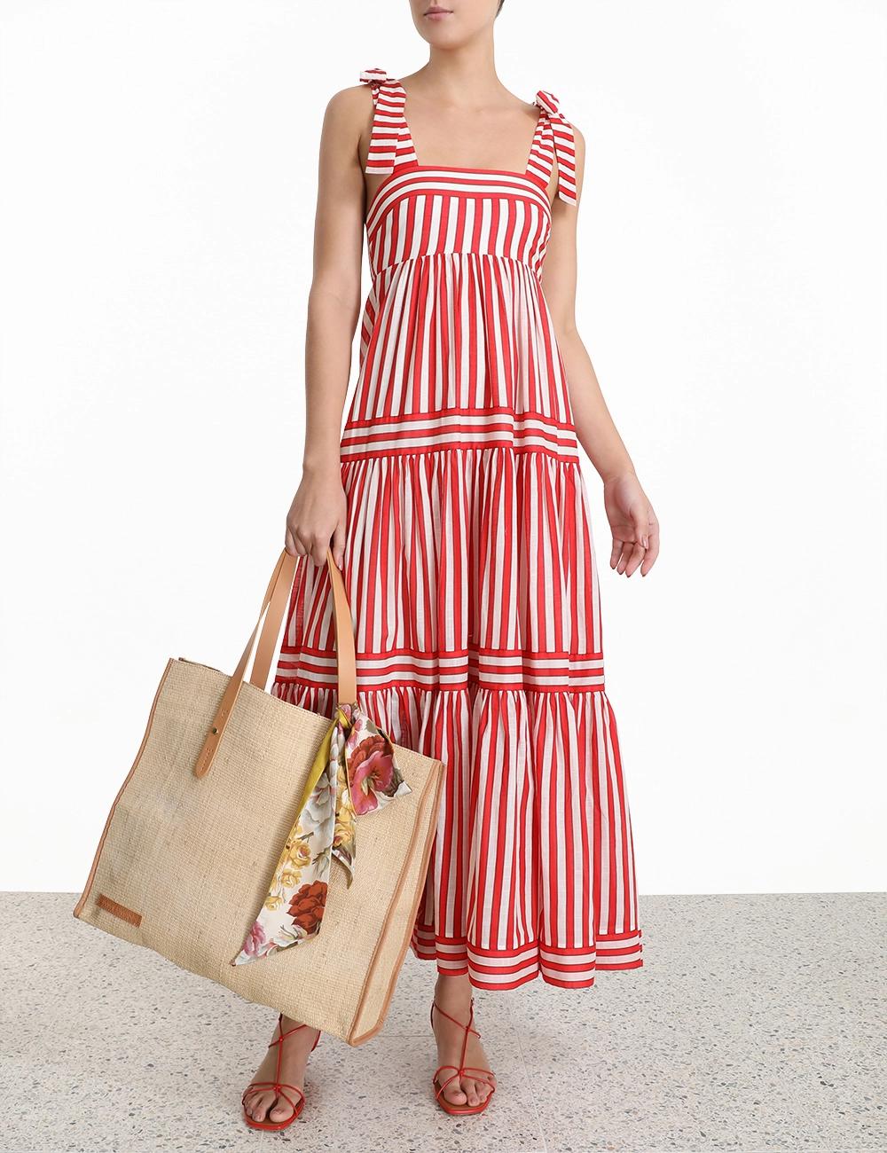 Zinnia Stripe Tie Tiered Dress Red Stripe Online Zimmermann Striped Dress Summer Summer Dress Outfits Red Striped Dress [ 1300 x 1000 Pixel ]