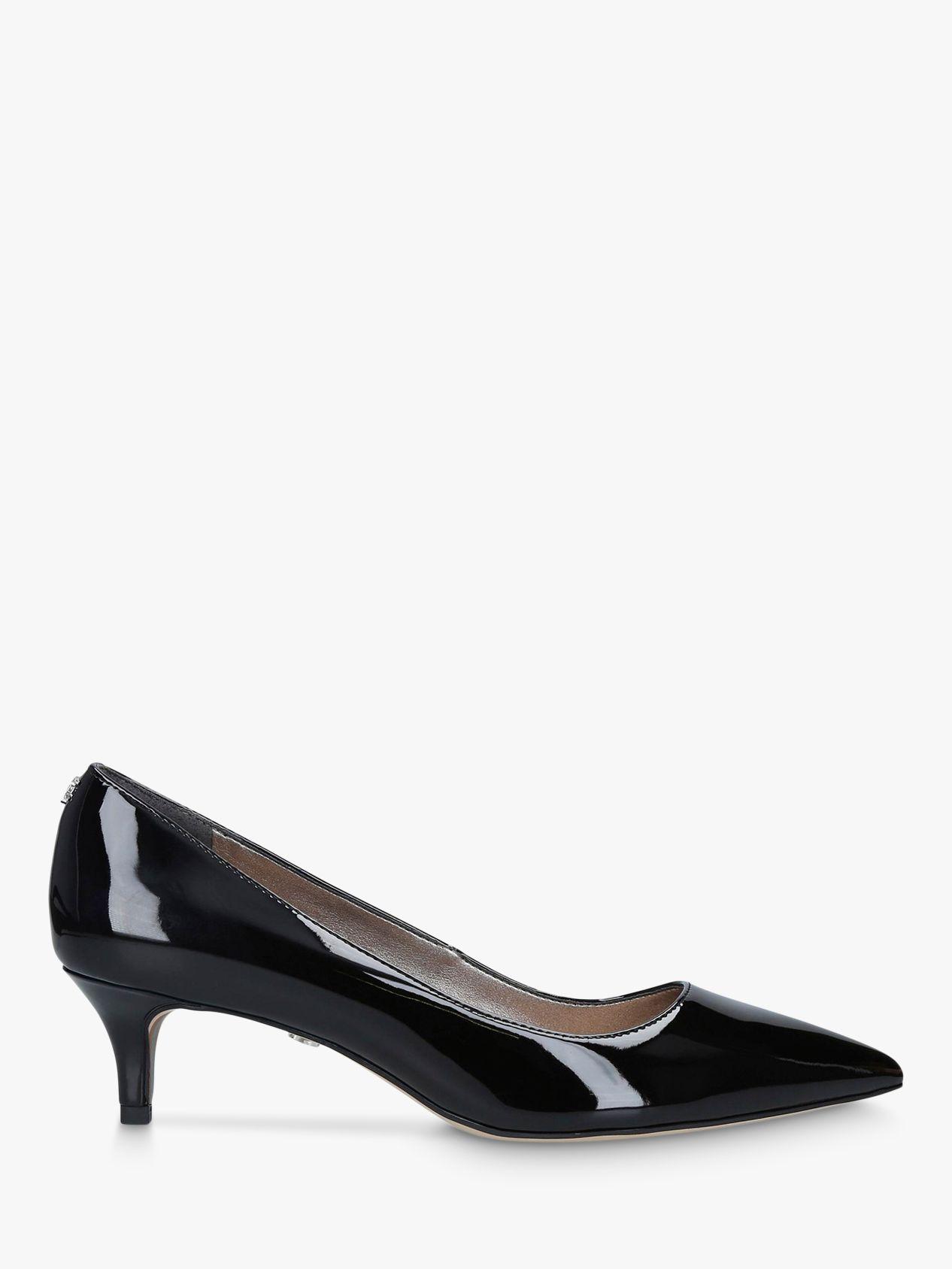 Sam Edelman Dori Kitten Heel Leather Court Shoes Black Patent Leather Court Shoes Kitten Heels Heels
