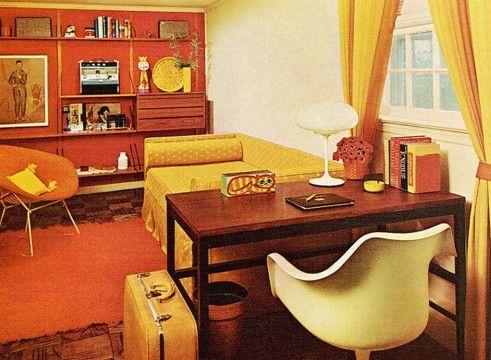 1970s living room | superseventies:1970s office/living room interior design.