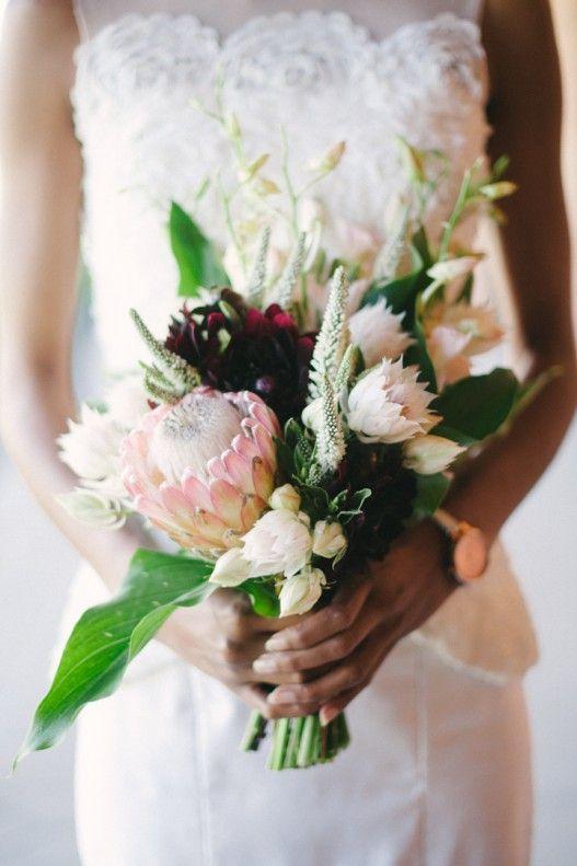 modern bridal bouquet pink ice protea dark red dahlia orchids blushing bride protea. Black Bedroom Furniture Sets. Home Design Ideas
