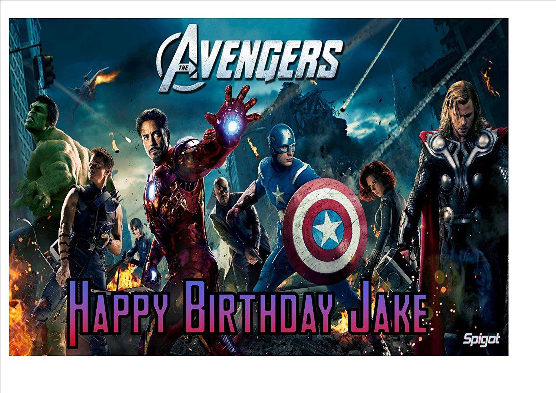 Avengers super hero 10 x 8 personalised cake topper on